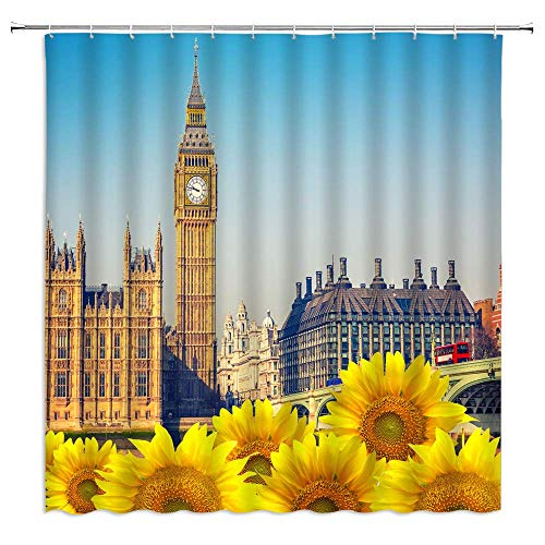 lovedomi Gothic Scenic Shower Curtain British Big Ben Decoration London Thames Conference Hall Sunflower Urban Architecture Shower Curtain Waterproof Polyester Fabric Shower Curtain 72X72 Inch