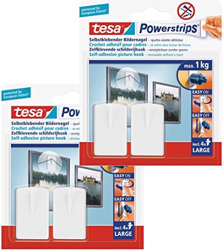 tesa Powerstrips Bildernagel, selbstklebend, weiß, 4 Stück