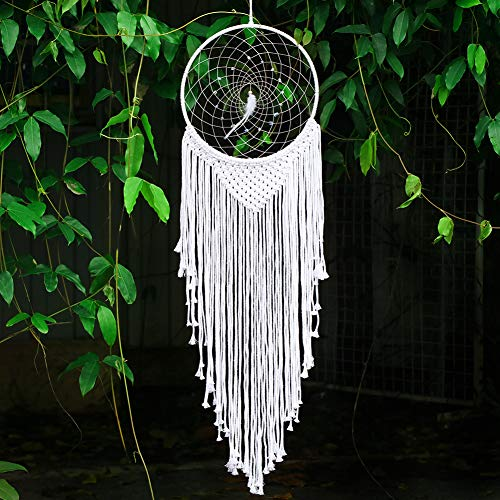 Nice Dream Large Boho Dream Catcher with White Feather, Macrame Wall Hanging for Vintage Wedding Home Decoration (White)