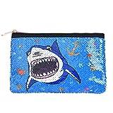 WERNNSAI Tiburón Bolsa Cosmética - Lentejuela Reversible Bolsa de Maquillaje con Cremallera Estuche Azul Portátil Bolsa de Aseo Escala de Brillo Bolsa de Maquillaje para Monedero