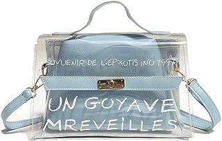 Hamkaw U-G-M 2019 Newest Style Clear Crossbody Handbags, Fashion Women's Waterproof Clear Handbag Top Handle Shoulder Bag Transparent Purse Cosmetic Organizer Bag for Modern Ladies(Blue, PVC)
