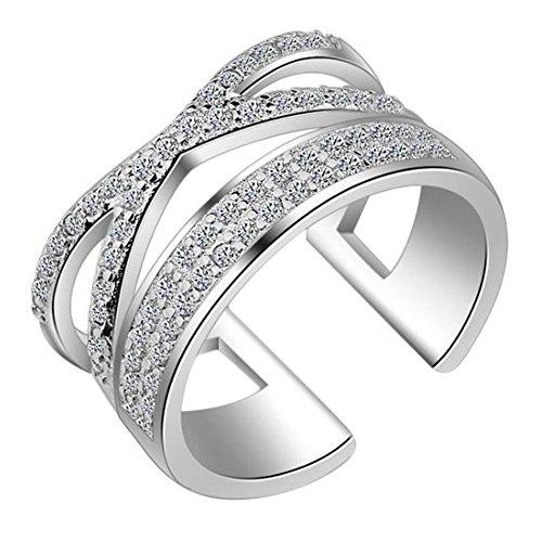 AIUIN Anillo de boda de doble capa para mujer, diseño de cruz de diamante de apertura de cristal plateado, ajustable, joyería de boda para mujer, con una bolsa de joyería