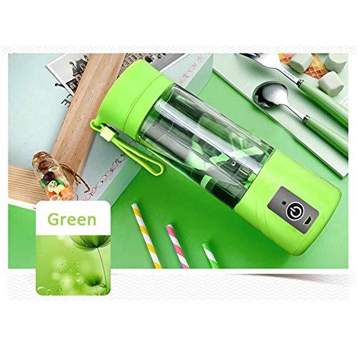 Draagbare citruspers, USB-draagbare oplaadbare sapmixer, voor het maken van vruchtensappen, smoothies, shakes etc, geschikt voor reizen thuis, buitenshuis, 400 ml groen