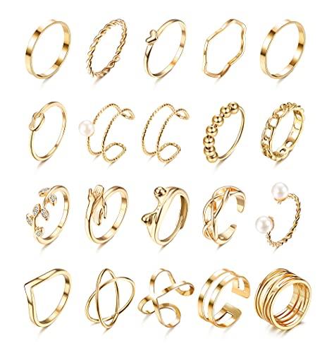 CASSIECA 20 Stück Vintage Ringe Set Anxiety Ring Hippie Frosch Umfassen Olivenblatt Offener Ring Einstellbar Stapelringe für Frauen Männer Mädchen Ring Set Silber Gold