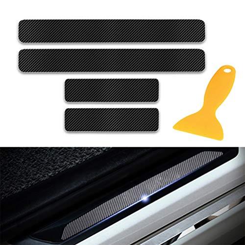 Yingpuchuang Protectores de Umbral de la Puerta del Coche para BMW 1 2 3 4 Series E36 E46 E64 E81 E90 4D Vinilo Fibra de Carbono Adhesiva Pegatinas Negro 4 Piezas