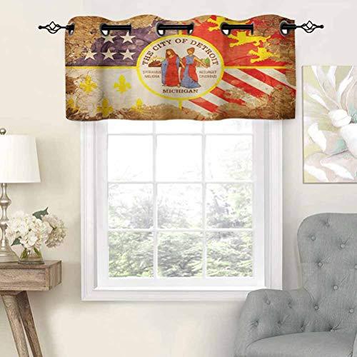 Hiiiman - Cortinas opacas con ojales, diseño de bandera de Detroit antigua con espirales florales, estilo vintage americano, juego de 1, 91,4 x 45,7 cm cortinas de cocina para sala de estar