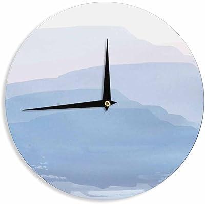 12-Inch Kess InHouse Sylvia Cook Dandelion Seedhead White Aqua Wall Clock