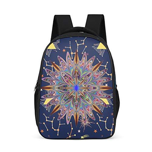 XJJ8 Psychedelic Star Rucksack, stilvoll, schlanker und langlebiger Rucksack – Fantasy-Muster, Laptop, gute Qualität für Kinder Einheitsgröße grau