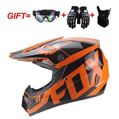 MAKE FINE Motocross Helm Geschenk Handschuhe/Brille/Maske Berg Cross Country Wettbewerb Profi Helm Erwachsenen Downhill/MX Offroad Helm CE-Zertifizierung,Orange,XL