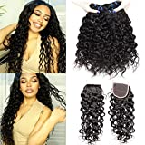 EMOL Hair 9A Brazilian Hair Bundles with Closure Brasilianisches Haar Echthaar Menschliches Haar Water Wave Virgin Human Hair Curly Weave Bundles with Closure 10 12 14+10 Zoll