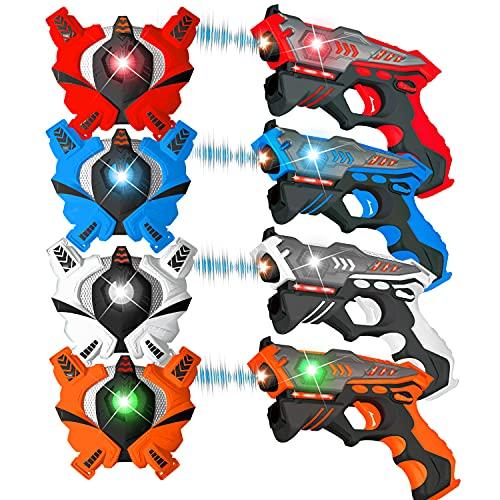 VATOS Infrarot Laser Tag Set 4 Active Infrarot-Pistole mit Westen 4 Spieler LaserTag-Blaster ür Kinder und Erwachsene Kinder-Spielzeug Innenraum im Freien