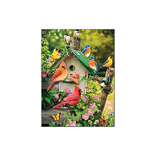 Leunin' Tree Pack van 6 lege Deluxe wenskaarten vogels op een hek