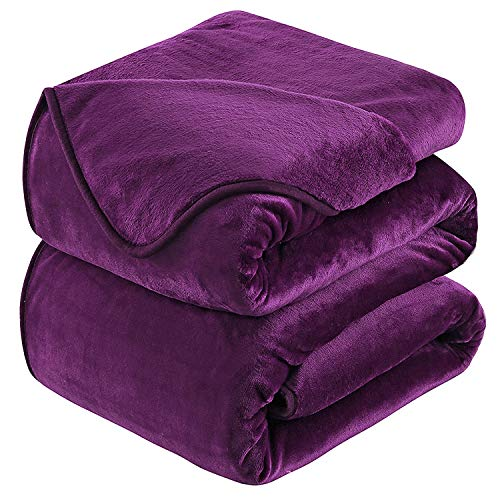 Fleece Blanket 350GSM Super Soft Fluffy Solid - No Static Throws for Large Bedspread/Sofa- Purple 220 x 240cm
