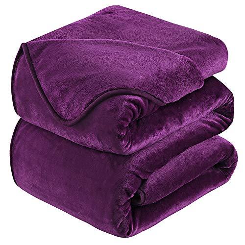 Mantas para Sofa 220x240 cm Púrpura ,Mantas para Cama de Franela Reversible,Mantas Ligeras de 100% Microfibra - Fácil De Limpiar - Extra Suave Cálido