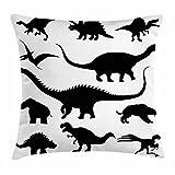 Ambesonne Dinosaur Throw Pillow Cushion Cover, Various Black Dino Silhouettes Jurassic Evolution Extinction Predator Animals, Decorative Square Accent Pillow Case, 16' X 16', Monochrome