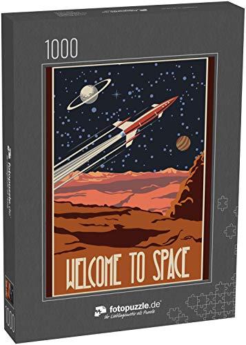 fotopuzzle.de Puzzle 1000 Teile Vector Retro Space Poster. Stilisierung unter der amerikanischen Weltraumpropaganda des Mittelalters