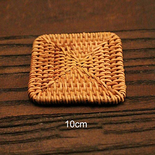 Fulinmen Placemats And Coaster Sets Natural Rattan Coaster Tea Cup Mat Pot Heat Resistant Cup Mug Mat Coffee Tea Drink Posavasos Placemat Kitchen Decor-2 Tablets_Style A4 (2 Pieces)
