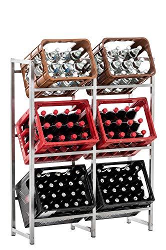 CLP Getränkekistenständer LENNERT I Platzsparender robuster Kistenständer für Getränkekisten I Verschiedene Ausführungen, Farbe:Edelstahl, Größe:XL