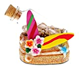 CoTa Global Resin Surfboards Miniature with Seashells in a Bottle, 3.5 Inch Intricate & Meticulous Art Figurine Decorative Tabletop Sculpture Centerpiece Snow Globe Tropical Beach Themed Home Décor