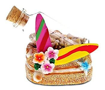 CoTa Global Resin Surfboards Miniature with Seashells in a Bottle 3.5 Inch Intricate & Meticulous Art Figurine Decorative Tabletop Sculpture Centerpiece Snow Globe Tropical Beach Themed Home Décor