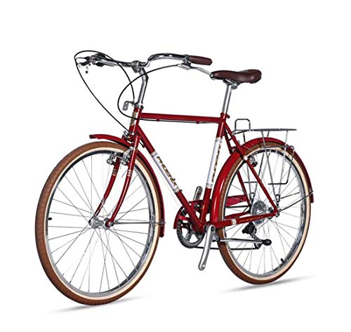AISHFP Adult Lightweight Retro Commuter Bike, City Electroplating Road 700C Bikes, 7-Speed Student Casual Bicycle,A