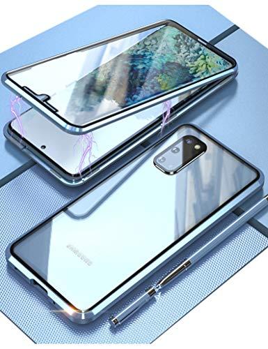KumWum Magnético Case para Samsung Galaxy S20 5g 360 Grados Clear Vidrio Templado 9H Doble Carcasa con Metal Protector de Lente de Cámara Teléfono Funda - Azul