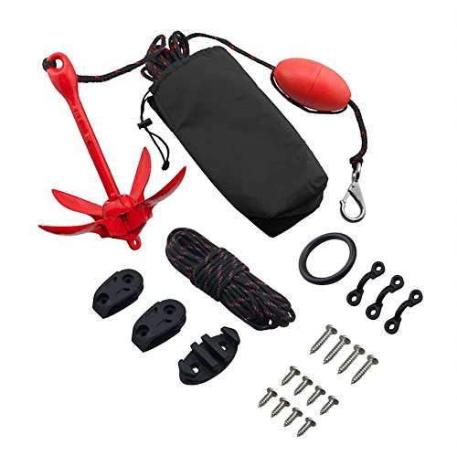 Vibe Anchor Trolley and 3 Pound Grapnel Anchor Kit for Kayaks and Canoes - Includes 30 Foot Rope