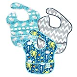 Hippychick Bumkins Super - Pack de 3 baberos para niños, diseño Sea Friends, Whales Away, Grey Chevron, 25 x 22 x 1 cm