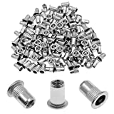 Get Bonsicoky 120Pcs M6 Rivet Nuts, 304 Stainless Steel Knurled Flat Head Threaded Insert Blind Rivet Nuts Just for $13.89