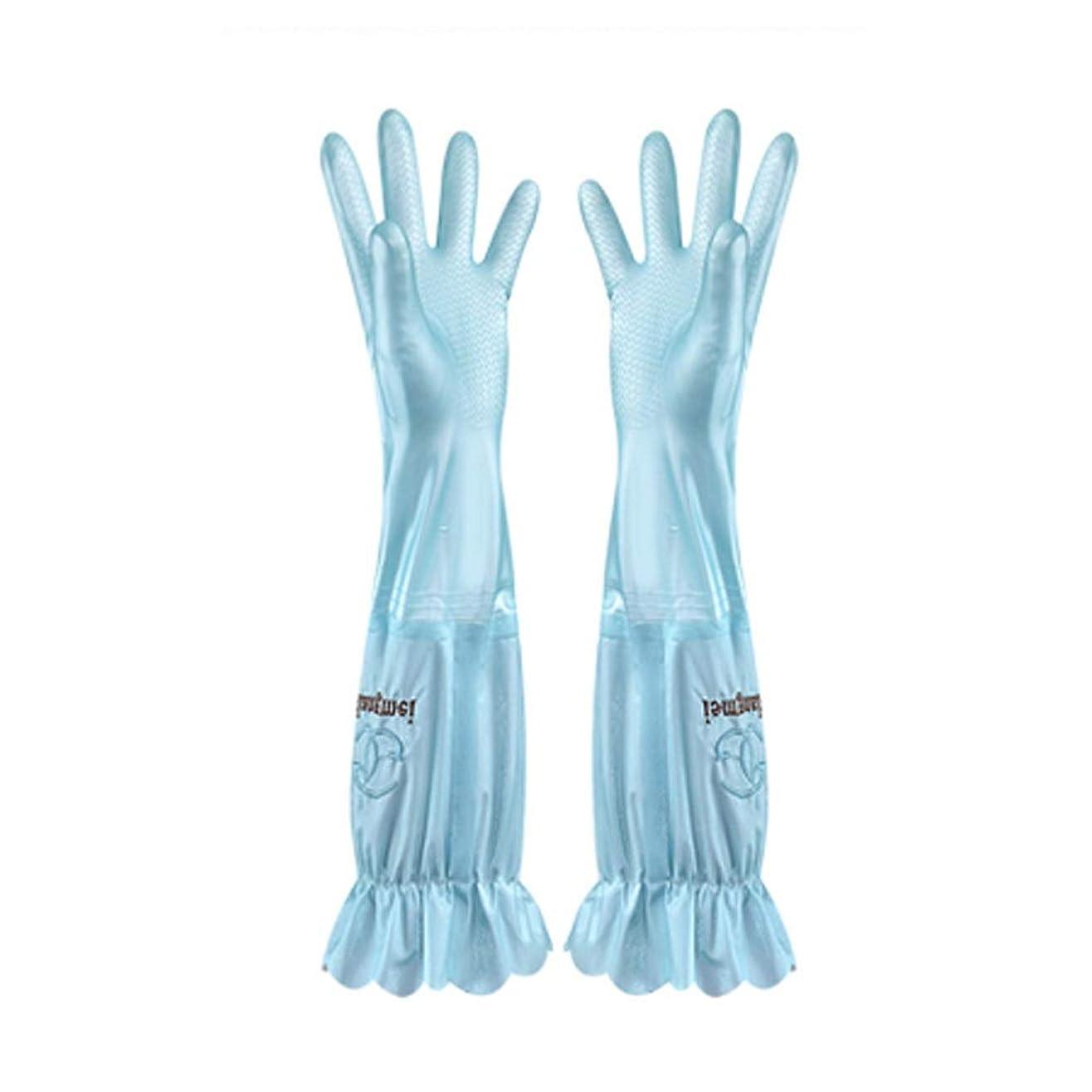 責任者ドリンクダンス使い捨て手袋 食器洗い用手袋水耐久性のあるゴム製台所ゴム製厚いセクションプラスベルベットの手袋、1ペア ニトリルゴム手袋 (Color : BLUE, Size : L)