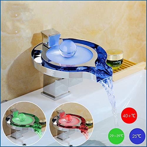 JEHO Led Badkamer Kraan Geelkoper Verchroomde Waterval Badkamer Kraan Kraan 3 Kleur Change Tap Water Power Basin Led Mixer Kraan