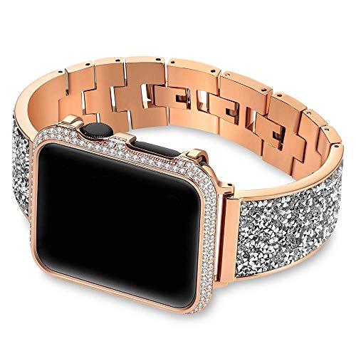 REDCVBN Correas de Reloj Caja de Diamantes + Correa Banda 44 mm 40 mm 38 mm 42 mm Cubierta IWatch Series 5 4 3 2 1 Pulsera de Acero Inoxidable para Mujer (Color: Negro, Tamaño: 40 mm)