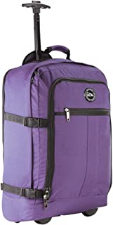 Cabin Max® Lyon Carry On Bag with Wheels - Very Lightweight at Just 3.7lbs 44L - Carry On Rolling Backpack with Wheels - Perfect Size for Many Major Airlines! 56x36x23cm (Purple)