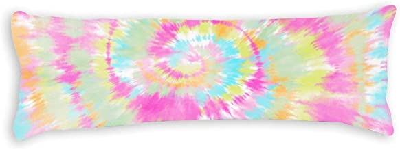 Modern Trendy Boho Cool Tie Dye Pastel Watercolor Body Pillow Cover Pillowcases Cushion with Hidden Zipper Closure for Sof...