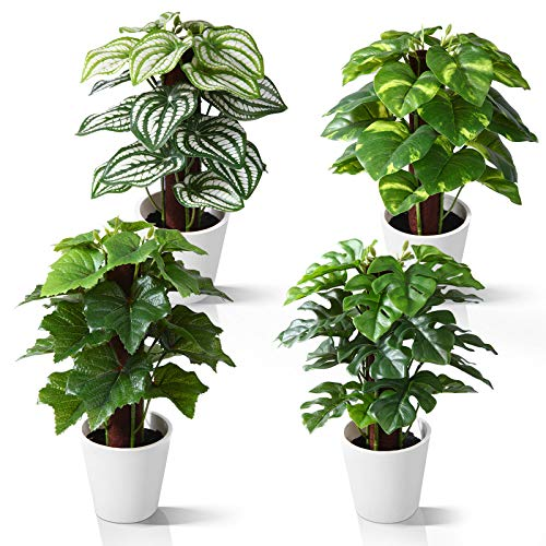 Kazeila Mini Plantas Artificiales de Interior en macetas, Planta de plástico Falso de 24 cm para decoración de casa / Oficina / Escritorio (4 Pack) 🔥