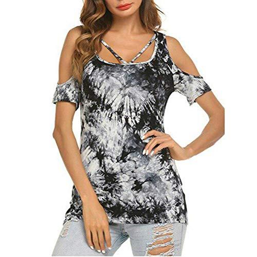 AmyGline Oberteile Damen Bluse Vintage Elegant Tinte Drucken Schulterfrei Hemd Top Freizeitbluse Sommerblusen Hemden Shirt