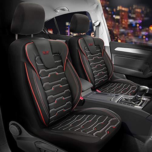 Fundas de asiento de coche de piel sintética para VW Bora, en negro y rojo, juego completo para asientos delanteros y traseros, 5 asientos con airbag compatibles, accesorios para el interior