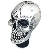 Thruifo Skull MT Car Stick Shifter Handle, Gear Shift Knob Small Teeth Devil Skeleton Style Fit Most Manual Automatic Transmissions, Silver