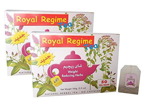 Royal Regime Tea Bags Weight Loss Reducing Herbal Slimming Herbs Detox Diet Morning & Evening Perfect Overweight Herbs Drink (2 Boxes / 100 Tea Bags)