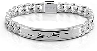 Fashion Men Silver Jewelry Classic Bracelet 100% 925 Sterling Silver Exquisite Carving Totem Bracelet 10 MM 7-10 inches It...