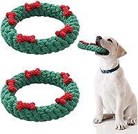 FTS 2ピースクリスマス犬の噛むおもちゃペット耐久性のある噛むおもちゃ子犬の歯のおもちゃ噛むロープ中小犬のための歯のクリーニングおもちゃ