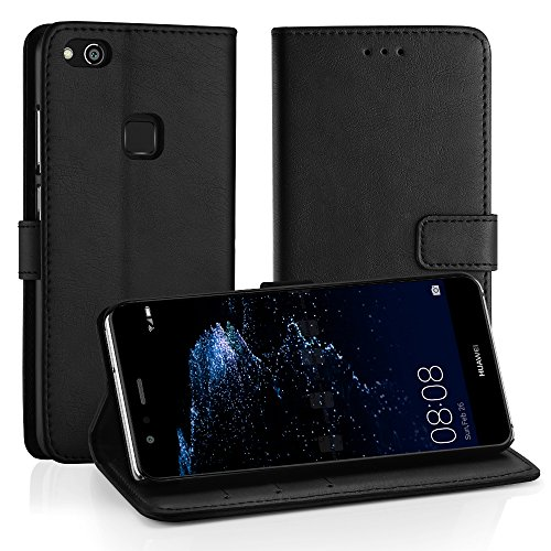 Simpeak Hülle Kompatibel für Huawei P10 Lite, Handyhülle Kompatibel mit P10 Lite Leder Flipcase [Kartensteckplätze] [Stand Feature] [Magnetic Closure Snap] - Schwarz