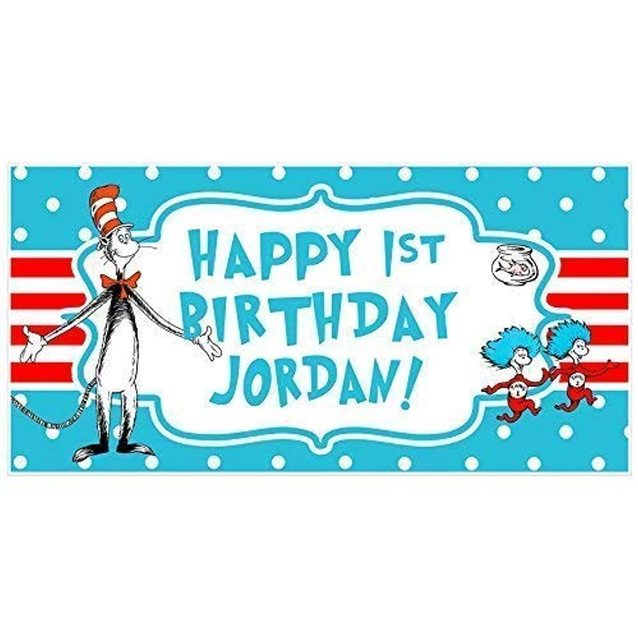 Dr. Seuss Cat in the Hat Birthday Personalized Banner