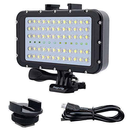 Suptig - Luci subacquee per luci subacquee, 72 LED, compatibili con Gopro, Canon, Nikon, Pentax, Panasonic, Sony, Samsung, fotocamere SLR, 5 tipi di colori illuminanti, impermeabili, 45 m