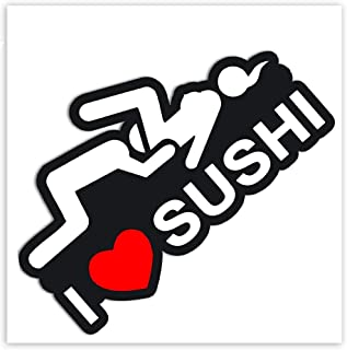Biomar Labs® 2 x vinyl roliga klistermärken sexiga I Love Sushi dekaler bil motorcykelhjälm B 90