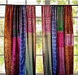 1 par de cortinas indias de seda vintage sari multicolor (colores surtidos) hechas a mano con patchwork cortinas para decoración del hogar