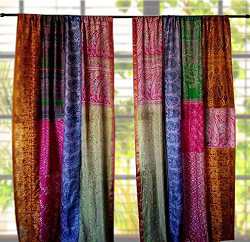 1 Pair of Indian Vintage Silk Sari Multi Color (Assorted Color) Handmade Patchwork Curtains Drapes Home Decor Curtain /Panels