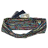 BANDI Large Travel and Running Belt, Securely Carry Keys, Phone, Medicine, Money or Food While You Exercise or Travel Within Its Sleek 3 Pocket Design, Size 7.5 Inch by 3.5 Inch Confetti One Size