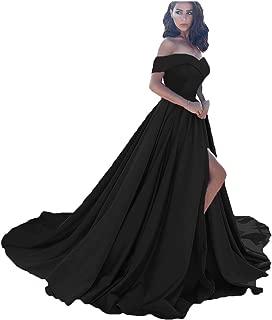Women's Off The Shoulder A Line Split Prom Evening Dresses Long Formal Gown