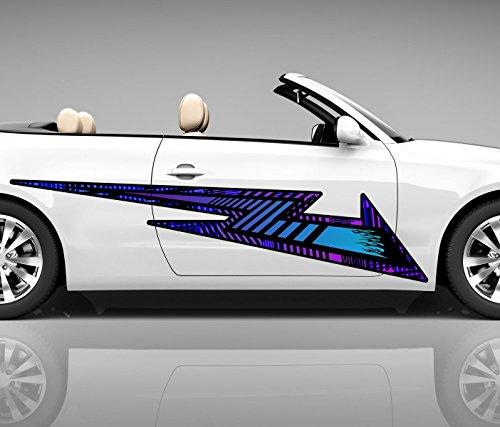 2x Seitendekor 3D Autoaufkleber Blitz Streifen blau Digitaldruck Seite Auto Tuning bunt Aufkleber Seitenstreifen Airbrush Racing Car Wrapping Tribal Seitentribal CW162, Größe Seiten LxB:ca 120x30cm